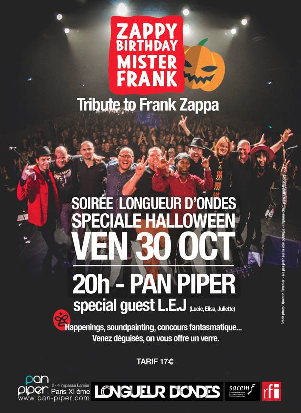 Affiche concert Zappy Birthday Mister Franck au Pan Piper